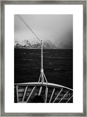 Passenger Ship Sailing Along The Coast Of The Norwegian Sea During Winter Norway Europe Framed Print by Joe Fox