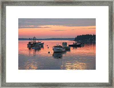 Port Clyde Maine Fishing Boats At Sunset Framed Print