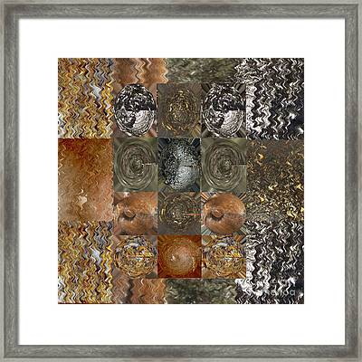Rareearth Rare Earth Stones Minerals Microphotography Micro Photography Tiled Square Silver Chrome B Framed Print by Navin Joshi