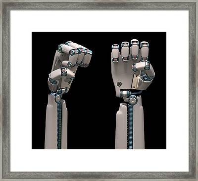 Robotic Hand Framed Print