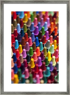 Rows Of Multicolored Crayons  Framed Print by Jim Corwin