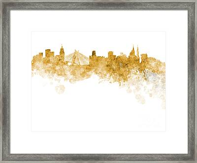 Sao Paulo Skyline In Watercolor On White Background Framed Print by Pablo Romero