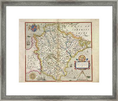 Saxton's Atlas Of England And Wales Framed Print by British Library