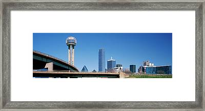 Skyscrapers In A City, Reunion Tower Framed Print by Panoramic Images