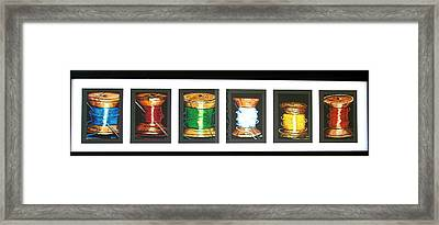 Framed Print featuring the drawing 6 Spools by Joseph Hawkins