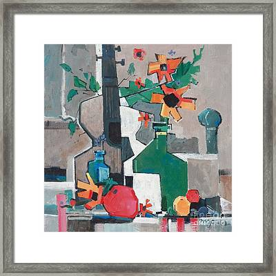 Still Life With A Guitar Framed Print by Micheal Jones