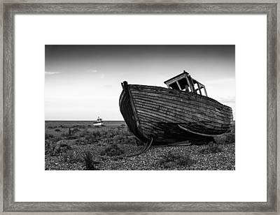 Stunning Black And White Image Of Abandoned Boat On Shingle Beac Framed Print by Matthew Gibson