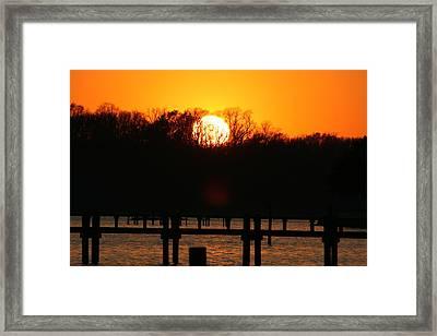 Sunset Over Chesapeake Bay Framed Print by Valia Bradshaw