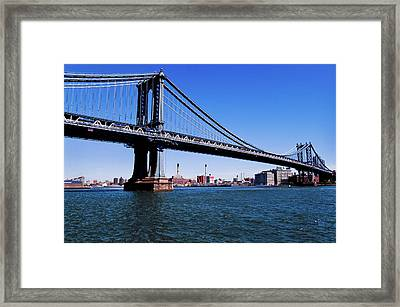 Suspension Bridge Across A River, Ben Framed Print