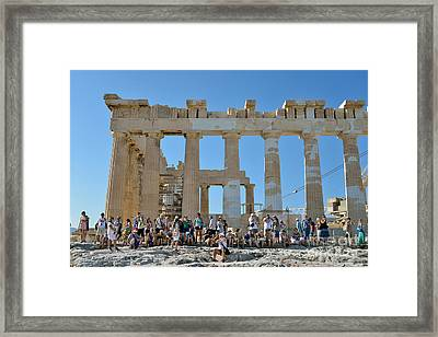 Tourists In Acropolis Of Athens In Greece Framed Print