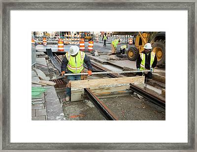 Tram Line Construction Framed Print by Jim West