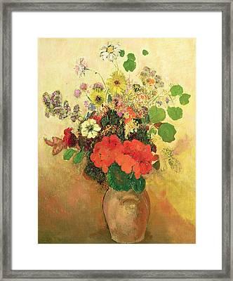 Vase Of Flowers Framed Print by Odilon Redon