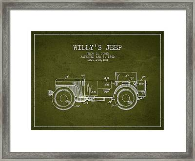 Vintage Willys Jeep Patent From 1942 Framed Print