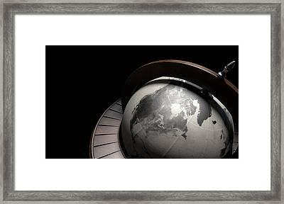 Vintage Wooden World Globe Framed Print