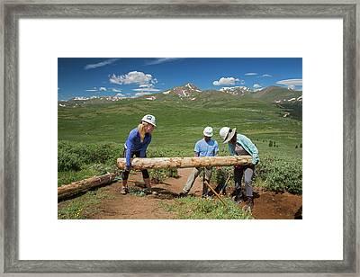 Volunteers Maintaining Hiking Trail Framed Print