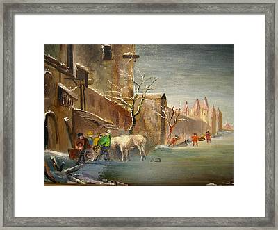Framed Print featuring the painting Winter Landscape by Egidio Graziani