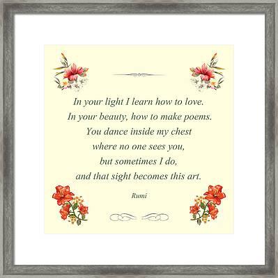 60- Rumi Framed Print