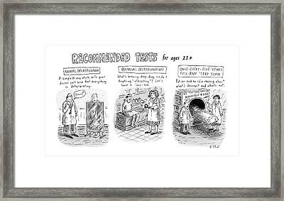 Recommended Tests For Ages 21+ Framed Print
