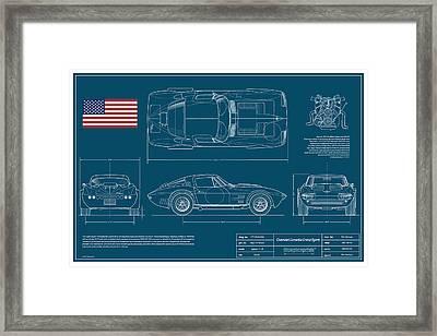 '63 Corvette Grand Sport Blueplanprint Framed Print by Douglas Switzer
