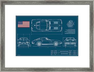 '63 Corvette Sting Ray Blueplanprint Framed Print by Douglas Switzer