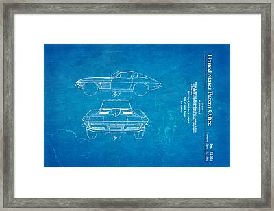 '63 Corvette Stingray Patent Art 1962 Blueprint Framed Print by Ian Monk
