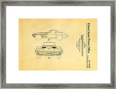 '63 Corvette Stingray Patent Art 1962 Framed Print by Ian Monk