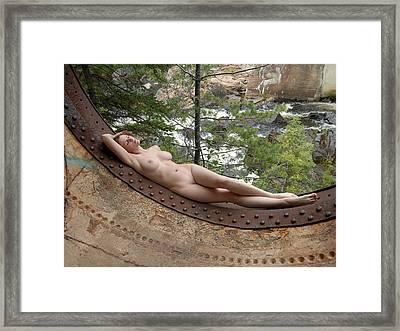 6893 Industrial Odalisque Nude In Nature Framed Print by Chris Maher