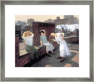 Sunday Women Drying Their Hair Framed Print by John Sloan