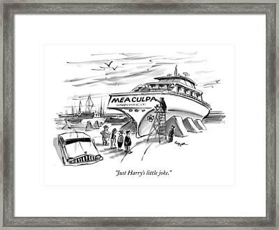Just Harry's Little Joke Framed Print by Lee Lorenz