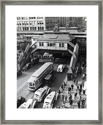 6th Avenue And 42nd Street Framed Print by Underwood Archives