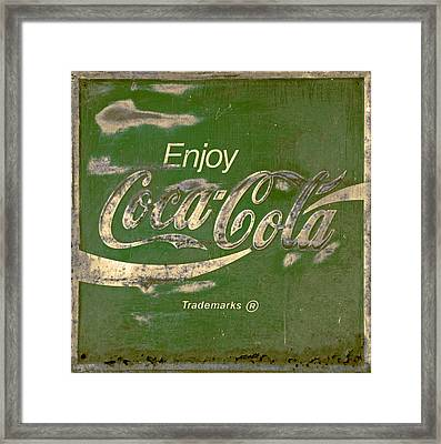 Coca Cola Sign Grungy Retro Style Framed Print