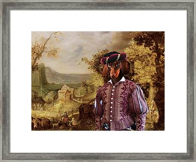 Dachshund Art Canvas Print Framed Print by Sandra Sij