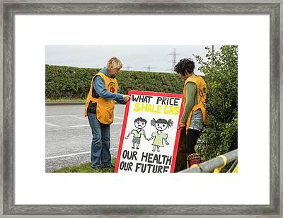 A Protest Banner Against Fracking Framed Print