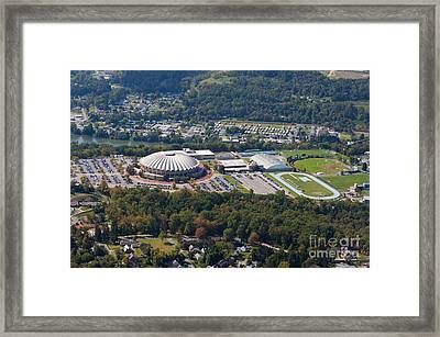 aerials of WVVU campus Framed Print by Dan Friend