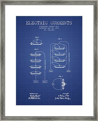 Alexander Graham Bell Electric Currents Bell Patent From 1876 -  Framed Print