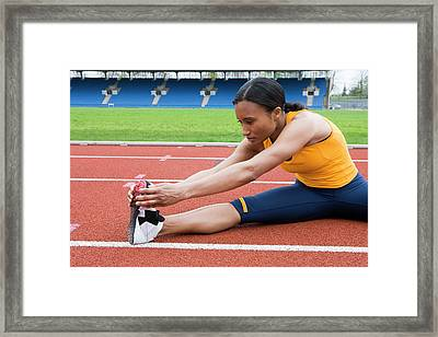 Athlete Stretching Framed Print by Gustoimages/science Photo Library