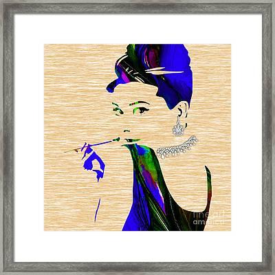 Audrey Hepburn Diamond Collection Framed Print by Marvin Blaine