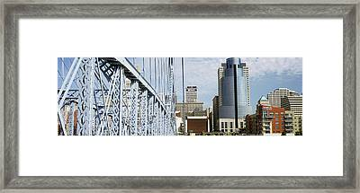 Bridge With Skyscrapers Framed Print