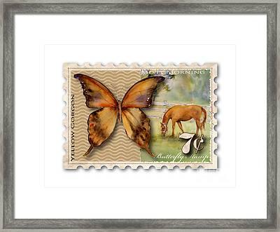 7 Cent Butterfly Stamp Framed Print by Amy Kirkpatrick