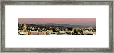 Elevated View Of Buildings In City Framed Print