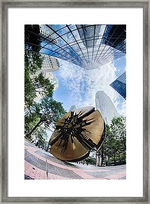 Financial Skyscraper Buildings In Charlotte North Carolina Usa Framed Print by Alex Grichenko