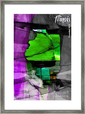 Illinois Map Watercolor Framed Print