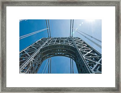 Low Angle View Of A Suspension Bridge Framed Print by Panoramic Images