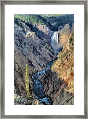 Lower Yellowstone Falls Framed Print by Stephen  Vecchiotti