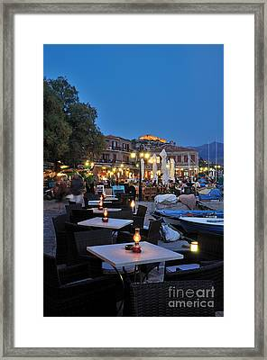 Molyvos Village During Dusk Time Framed Print by George Atsametakis