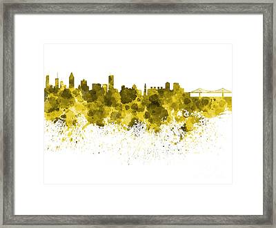 Montreal Skyline In Watercolor On White Background Framed Print