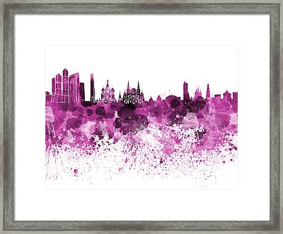 Moscow Skyline White Background Framed Print