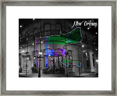 New Orleans Map Watercolor Framed Print