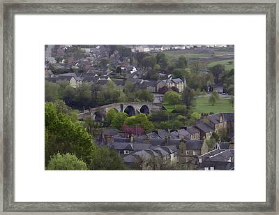 Old Stirling Bridge And Houses As Visible From Stirling Castle Framed Print