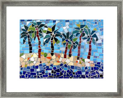 7 Palm Trees Mosaic Framed Print